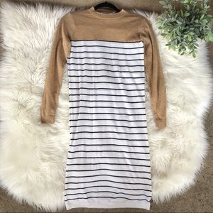 ASOS Striped Tan Long Sleeves Midi Sweater Dress